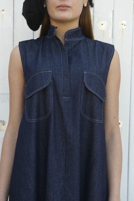 16f37637f0 Denim Long Dress   Sleeveless Blue Dress   Blue Jean Dress   Denim ...