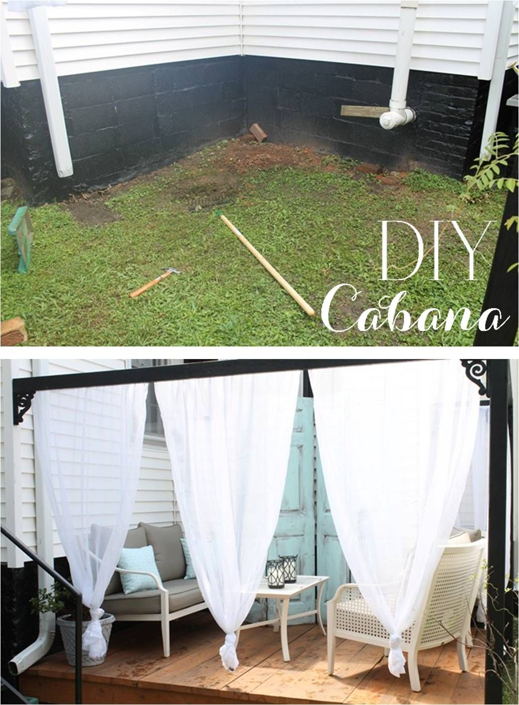DIY Outdoor Cabana with Curtains & DIY Outdoor Cabana with Curtains | Outdoor cabana Cabana and Canopy