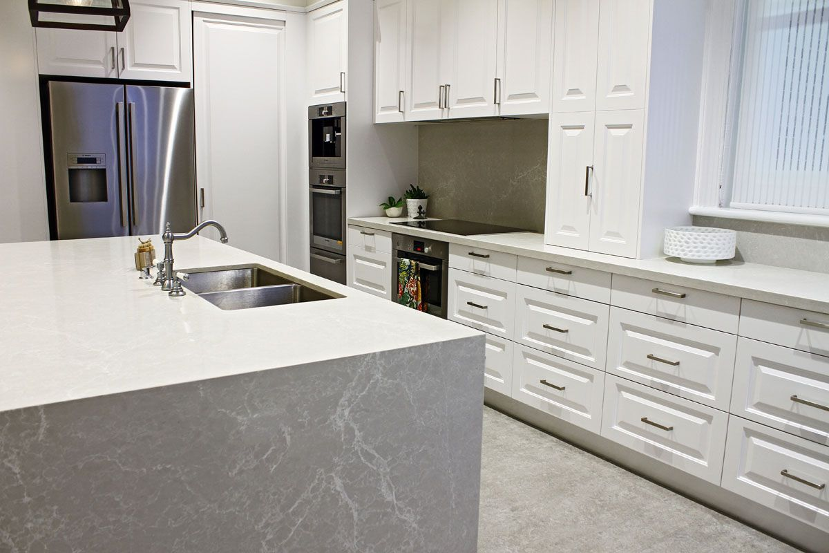 kerry selby brown design featuring caesarstone alpine mist island