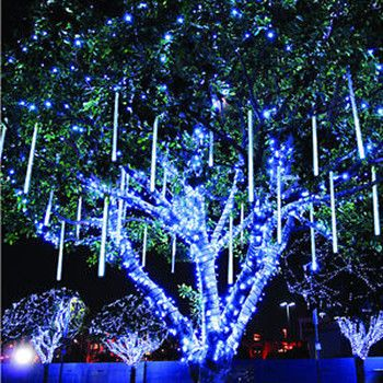 Solar-Powered LED Fairy Lights (55 ft) Light blue, Rain and Lights - solar christmas decorations