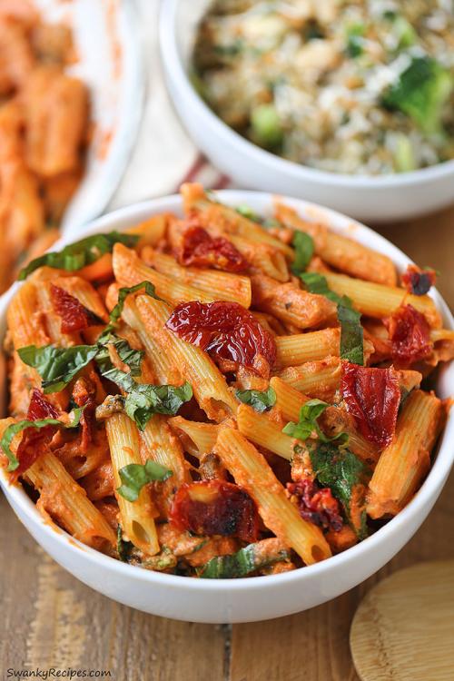 "lustingfood:  "" Mozzarella Penne Rosa Pasta with Sun-Dried Tomatoes  """