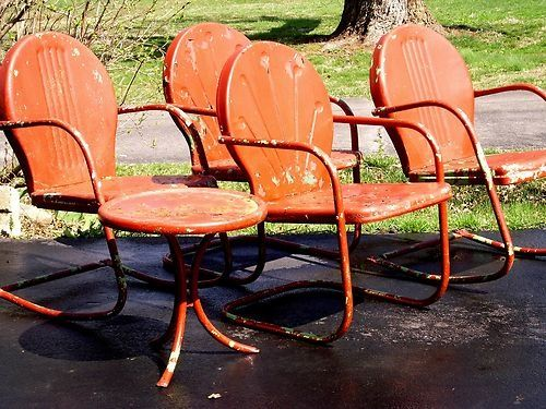 Mid Century Vintage Metal Lawn Chair Outside Ones Are Shott And