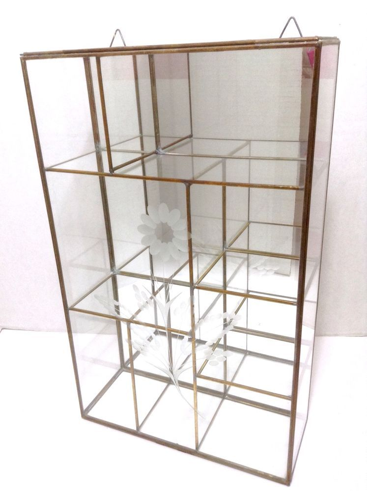 VTG Brass Glass Mirror Curio Display Case Floral Etched Shelf Base Wall  Hanging