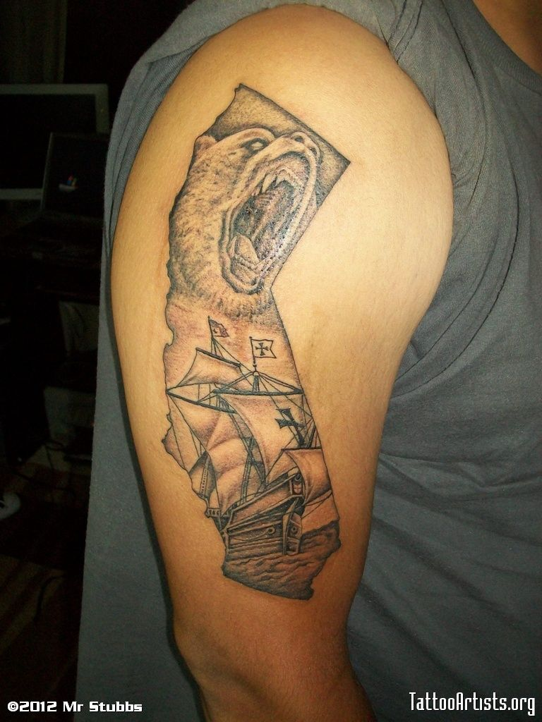 Bear face pirate ship tattoo on muscles ideas and