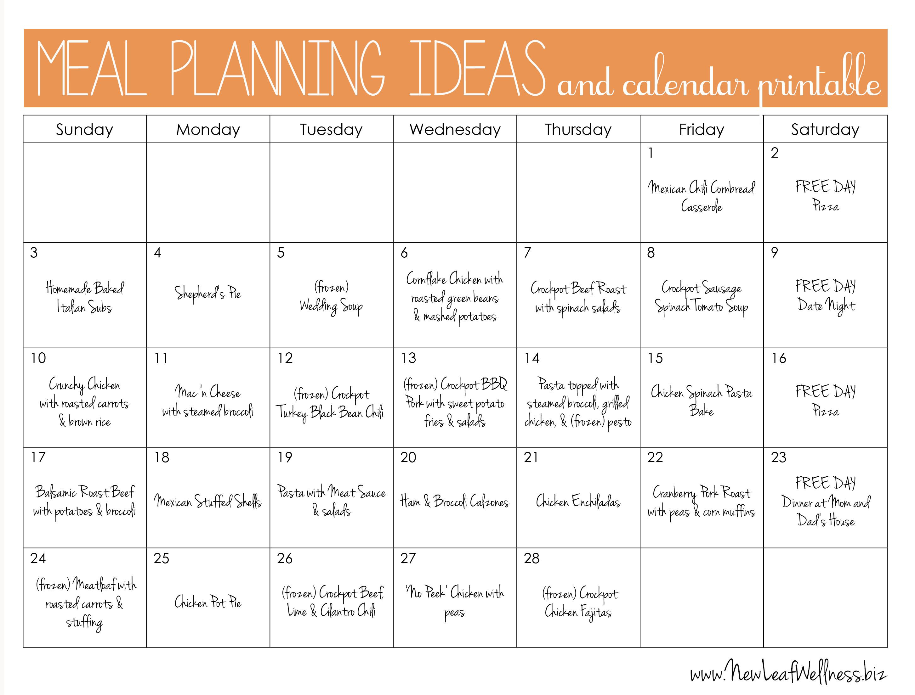 example monthly meal plan and links to recipes mealplanning make