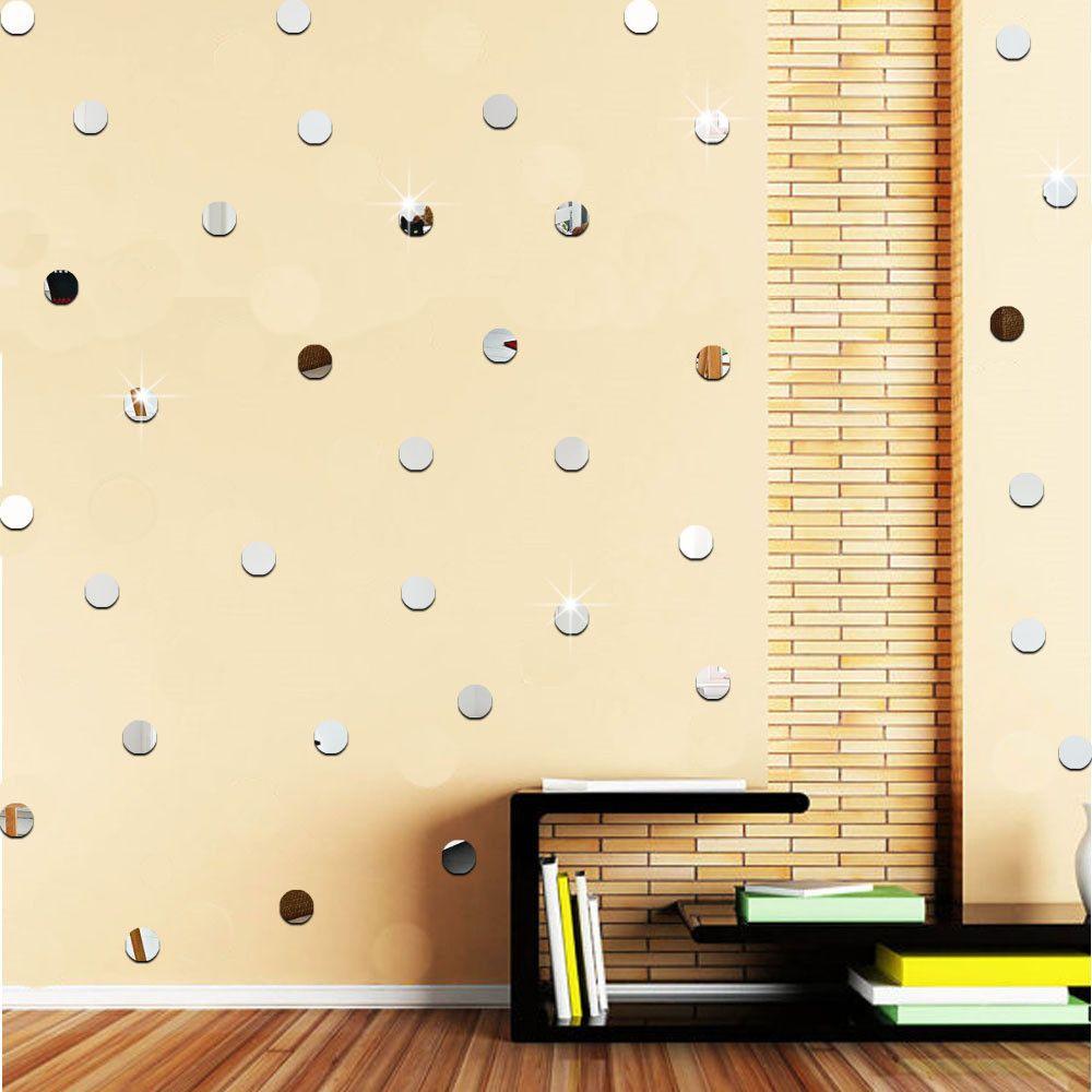 round acrylic mirror background wall sticker bedroom decoration high ...