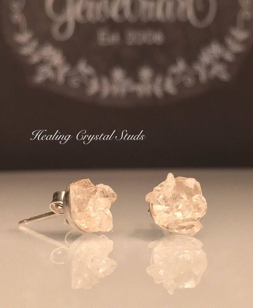 Stud Earrings with Raw Crystal Herkimer Diamond