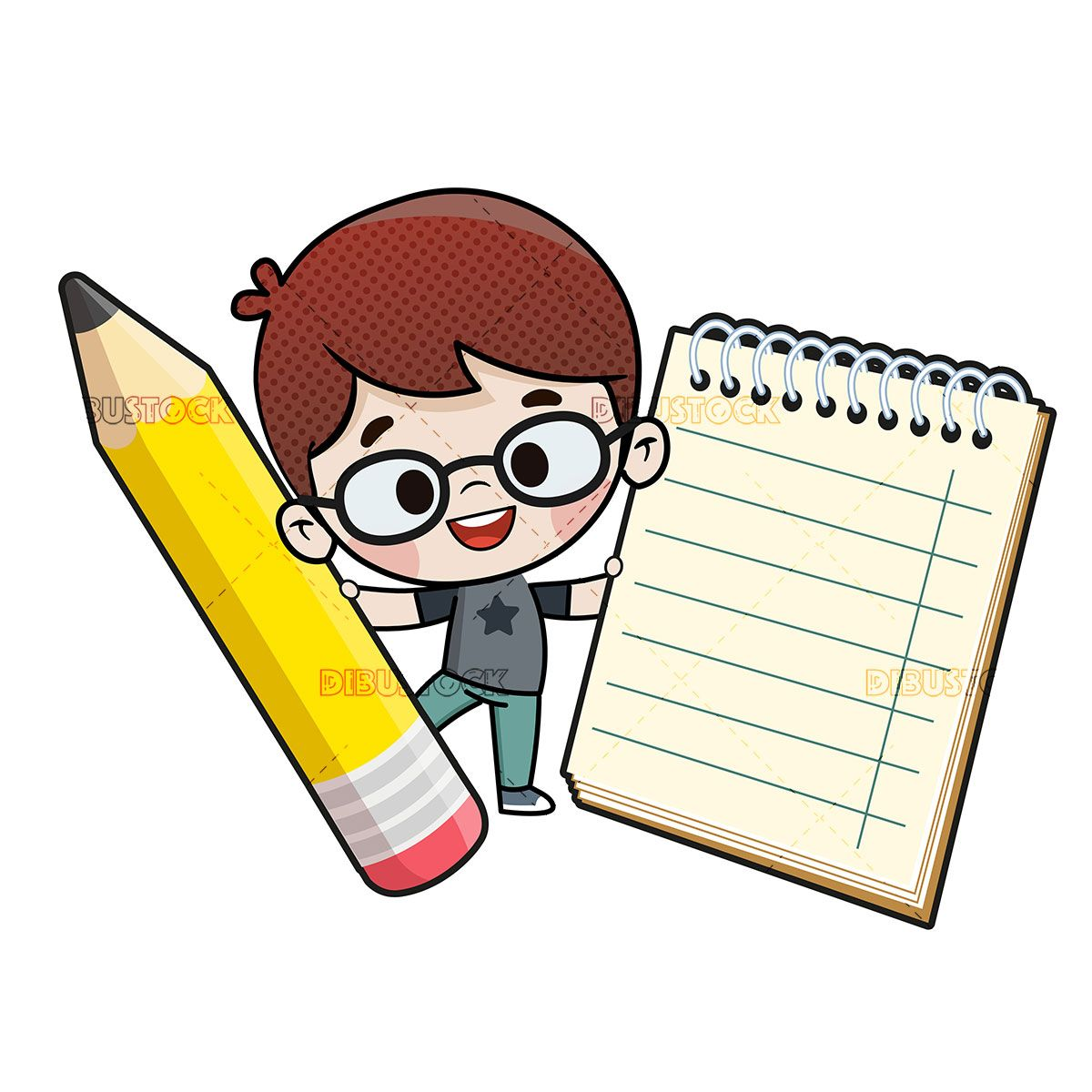 Child With A Pencil And A Notebook Art School Supplies Writing Cartoons Book Page Art