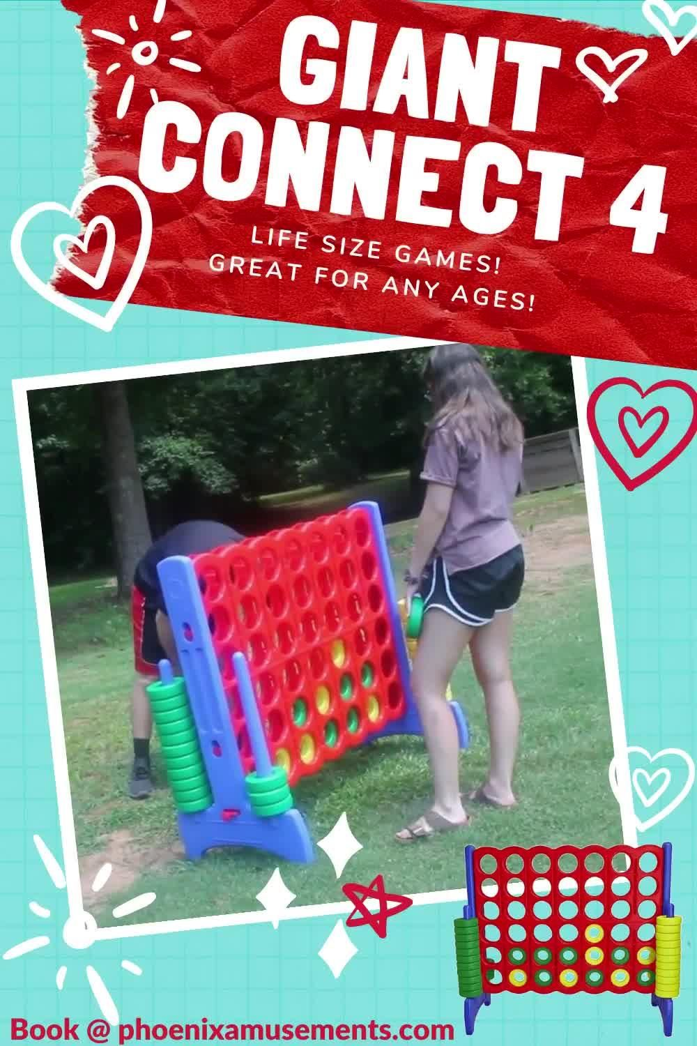 Giant Connect 4 - Life Size Games. Looking for Fun activities for indoor or outdoor parties? Easy but challenging! Line up 4 of your color discs to win. Have you played lately? #partyplanners #eventideas #funactivities #fungames #eventinspiration #corporateevents #eventservices #eventprofs #eventplanning #eventplanner #PhoenixAmusements
