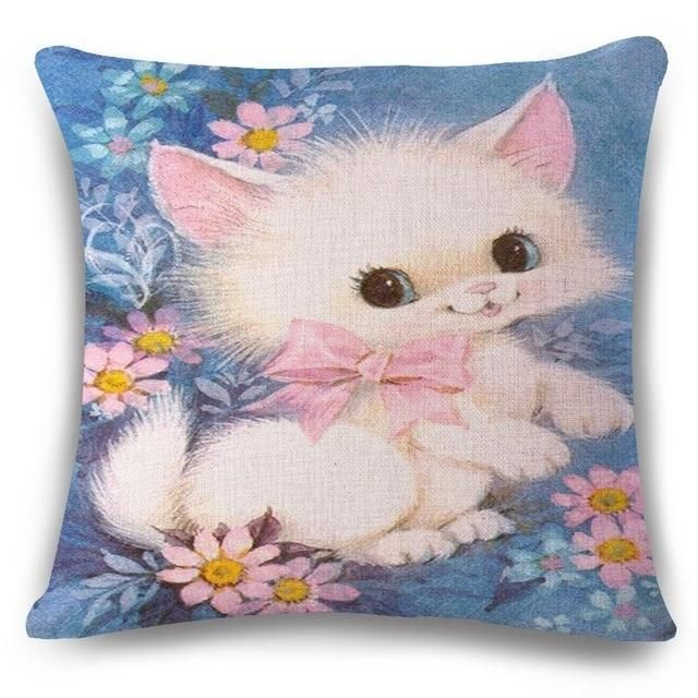 Smart Creative Cat Cushion Cover Print Linen Affection Sofa Car Seat Family Home Decorative Throw