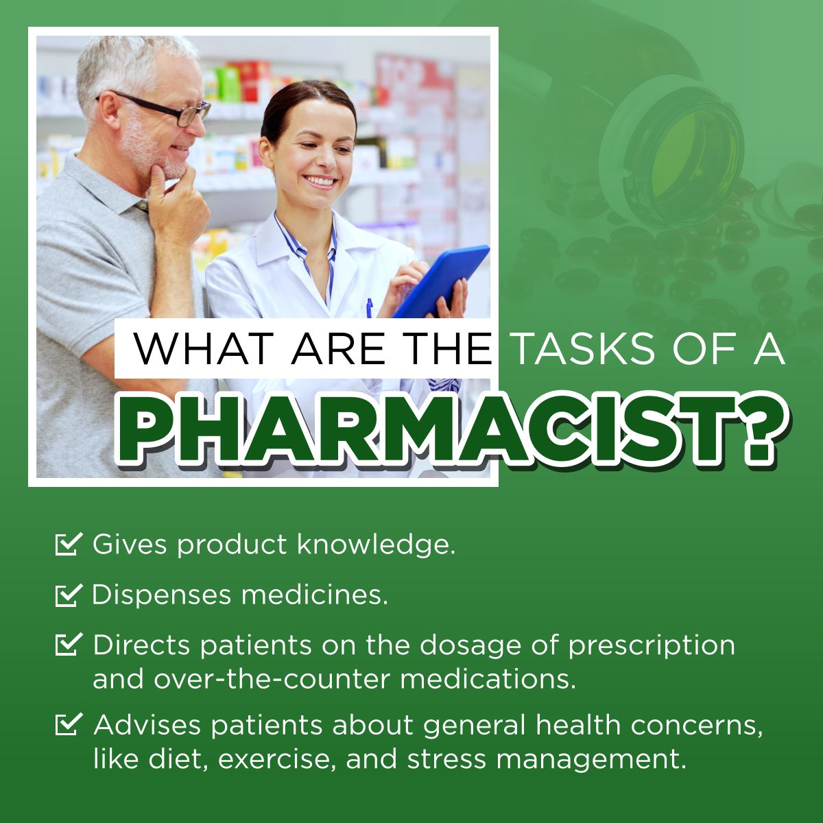 What are the tasks of a pharmacist pharmacist medicines