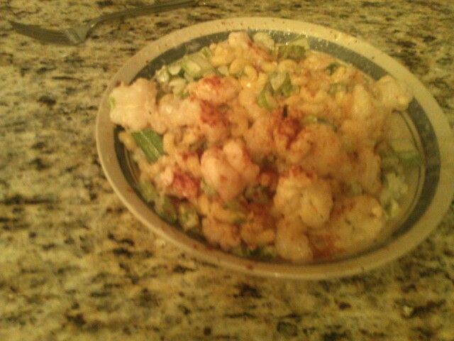 Shrimp made with Elbow Macaroni