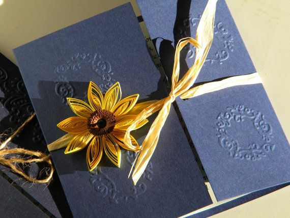 Cheap Sunflower Wedding Invitations: Sunflower And Navy Blue Wedding Invitation / Sunflower