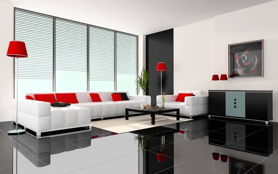 Monochromatic with red accents Living, Dining  Cooking