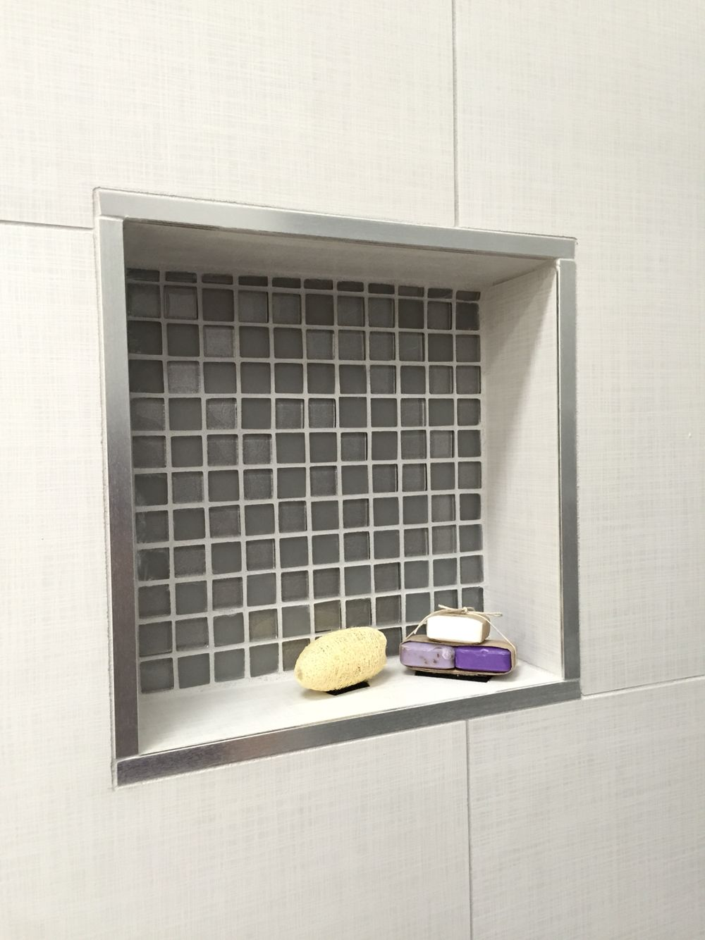 Shower Recess Using Manhattan Tile and Silver Trim Master