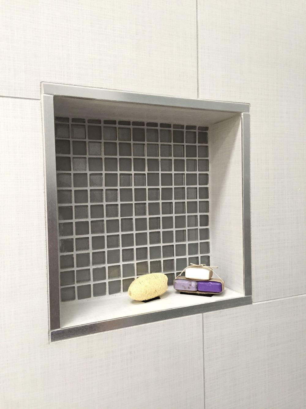 Shower recess using Manhattan tile and silver trim | Master bathroom ...