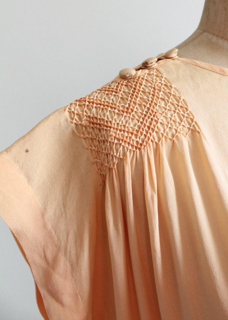 Vintage 1920s Peach Silk Smocked Tunic Dress | Keep calm and
