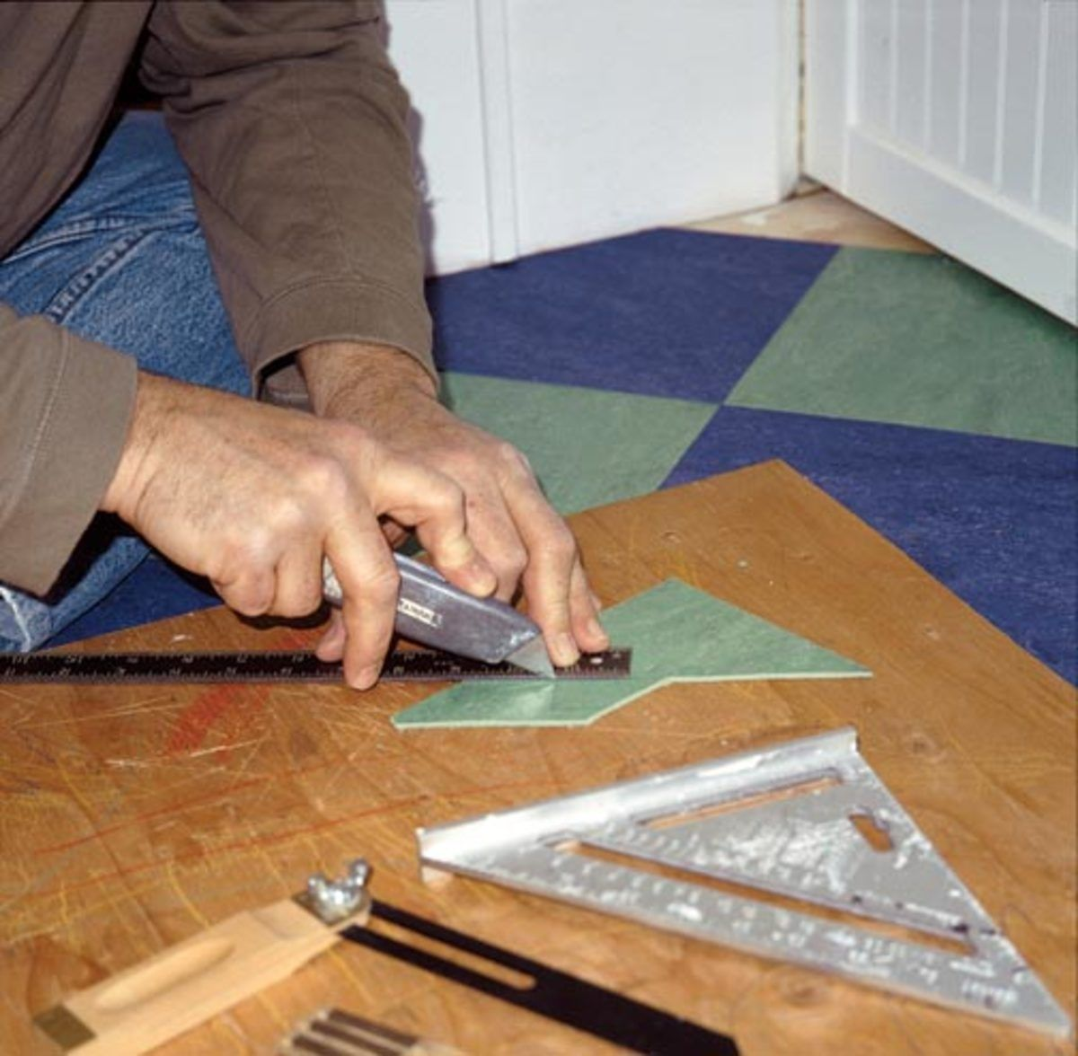 How To Lay Linoleum Tile Linoleum flooring, Stick on