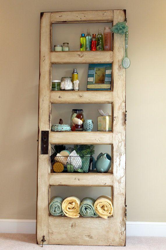 Vintage Door Repurposed Bookshelf- GO GREEN (Shelf 002