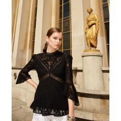 Photo of The Kooples black lace top with round neck – Herrenthekooples.com