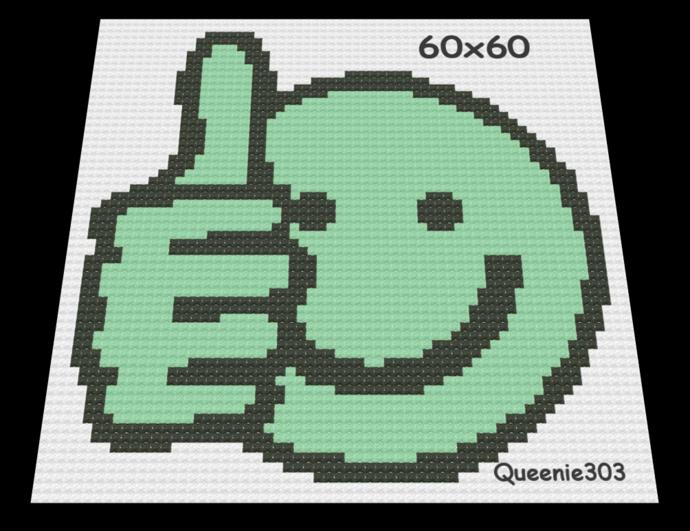 Green Thumbs Up 60x60 Red Heart Yarn Graph Crochet Yarn