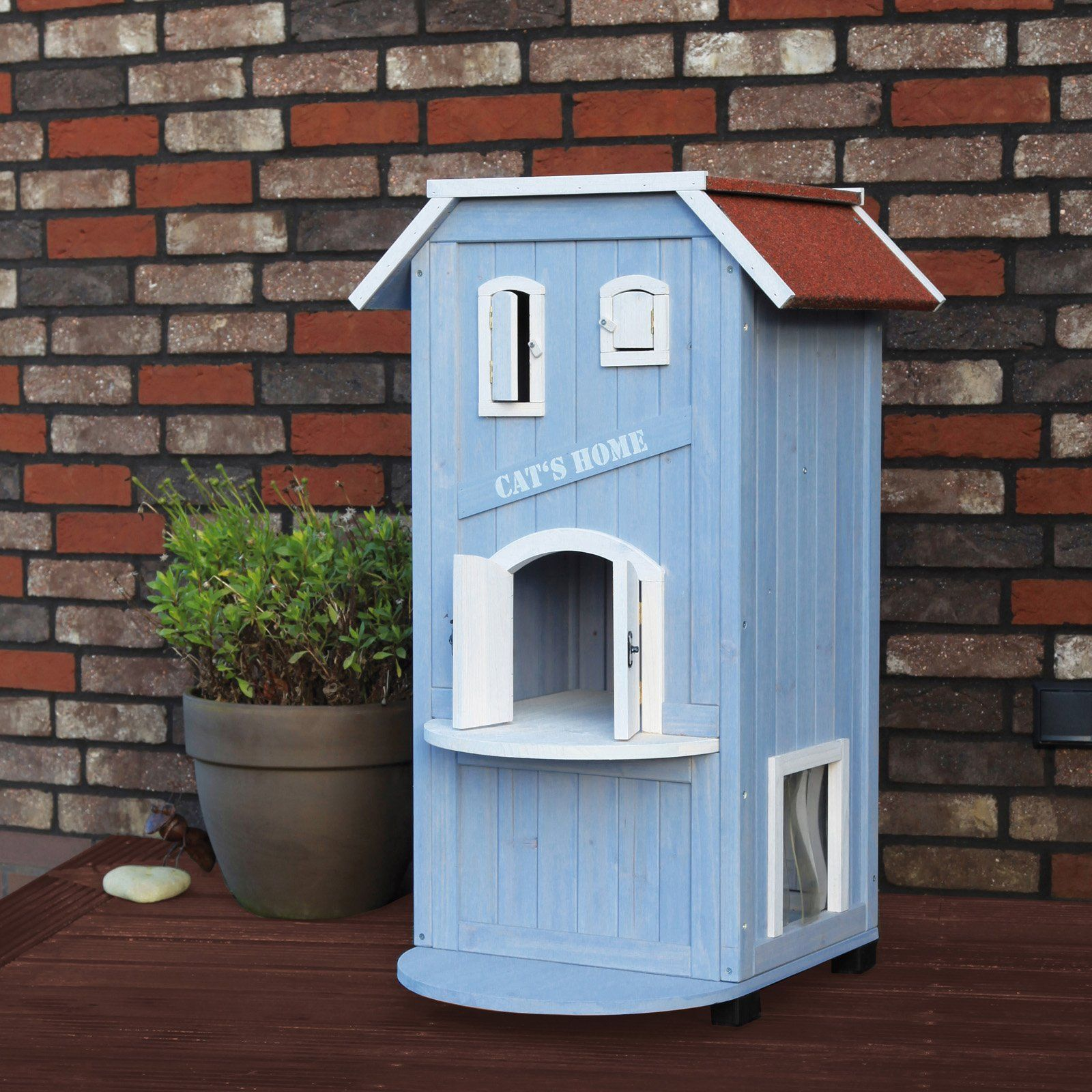 Trixie 3 Story Cat S Home Indoors Or Outdoors Your Feline Will Have A Safe And Secure Three Level Shelter In Which To Relax With The Tr Wooden Cat House Outdoor Cats Wooden