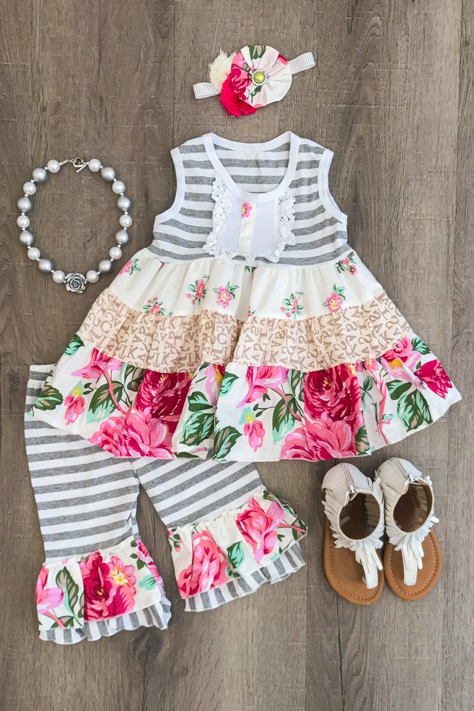 b0c4dfbaad176 The Madilyn Ruffle Capri Set - INCLUDES FREE MATCHING HEADBAND Little Girl  Outfits, Cute Outfits