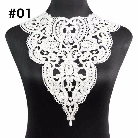 1pc 100% Polyester Black Big Flower Necklace Lace Collar Fabric Trim DIY Embroidery Lace Fabric Neck
