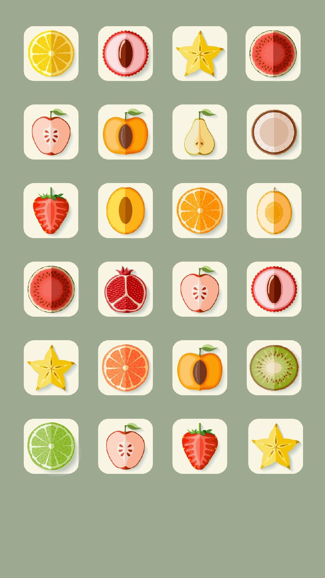 TAP AND GET THE FREE APP! Shelves Fruit Icons Colorful