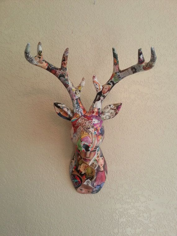Colorful Art Decoupage Ceramic Deer Head Faux Taxidermy