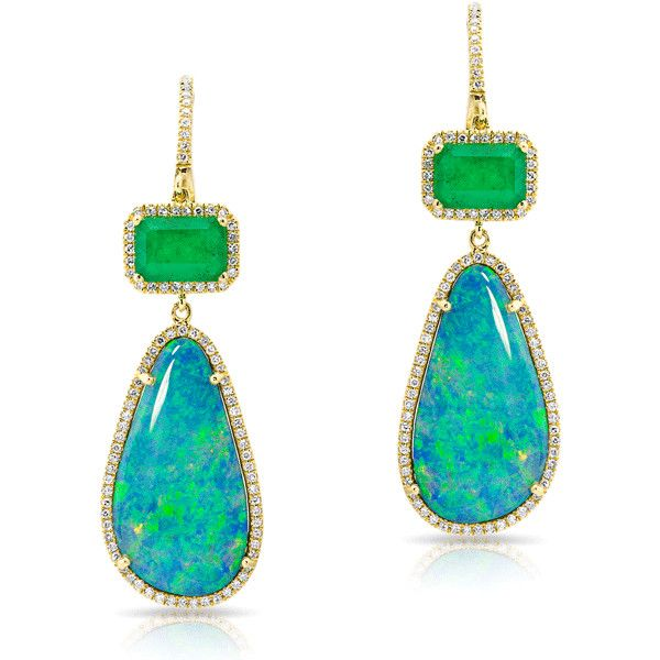 Anne Sisteron  14KT Yellow Gold Emerald And Long Opal Diamond Earrings ($3,240) ❤ liked on Polyvore featuring jewelry, earrings, gold, gold opal earrings, emerald diamond earrings, long diamond earrings, gold jewelry and gold diamond earrings