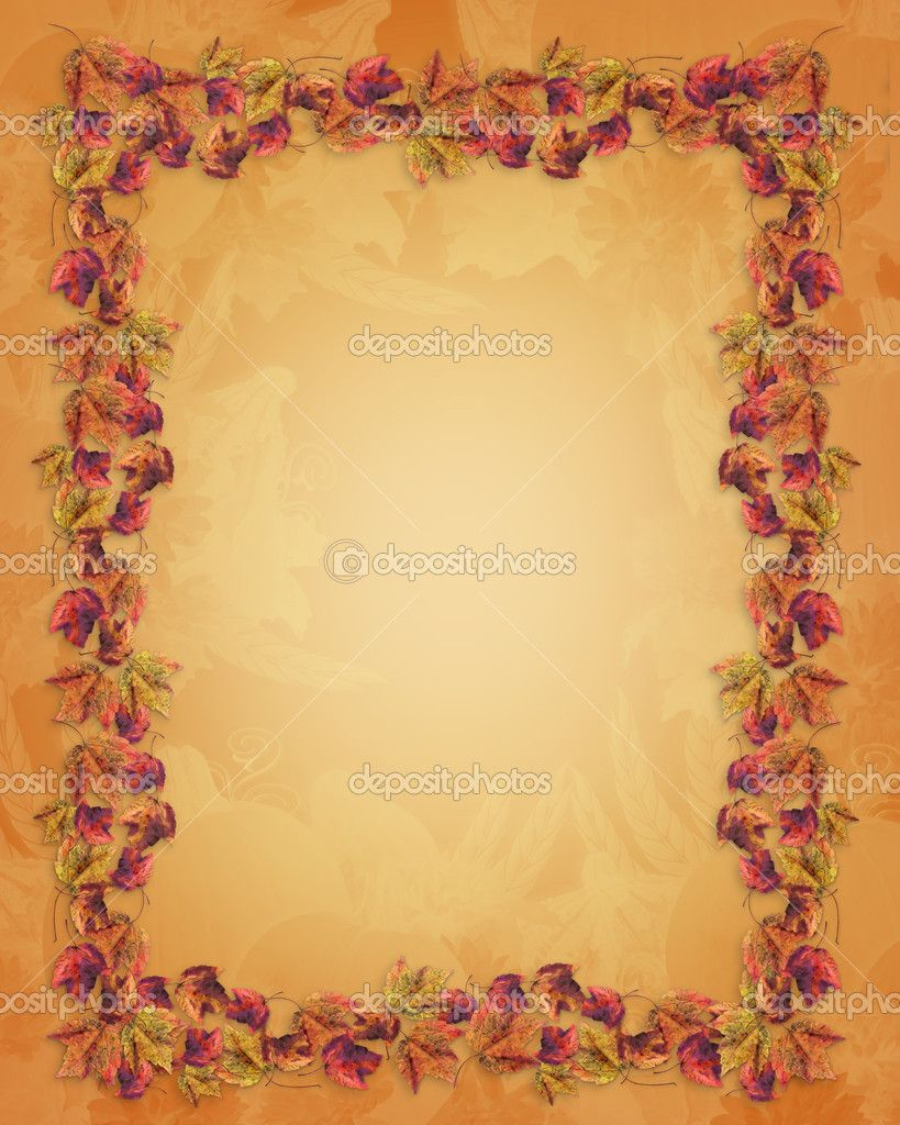 Thanksgiving stationery templates autumn fall leaves border thanksgiving stock image for Thanksgiving letterhead