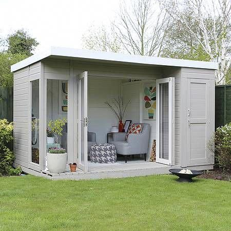 12 x 8 Waltons Contemporary Summerhouse with Side Shed #gardendesign