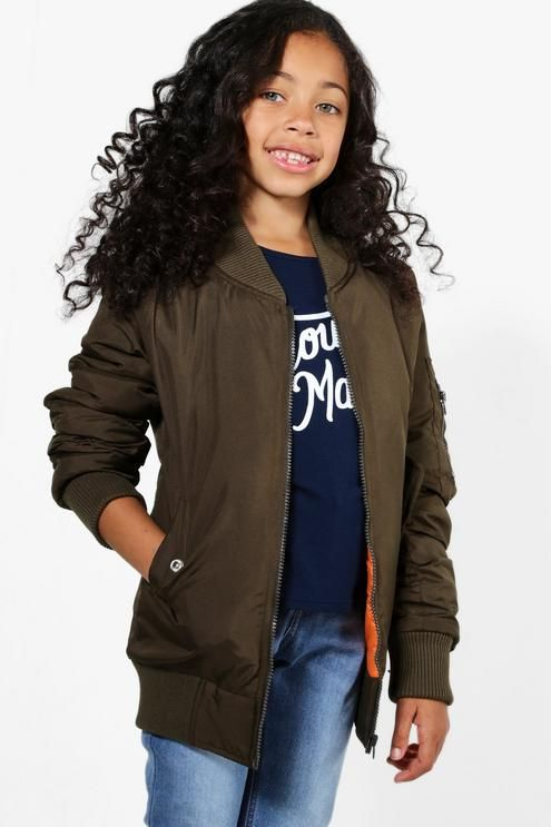 Girls Longline Bomber Jacket