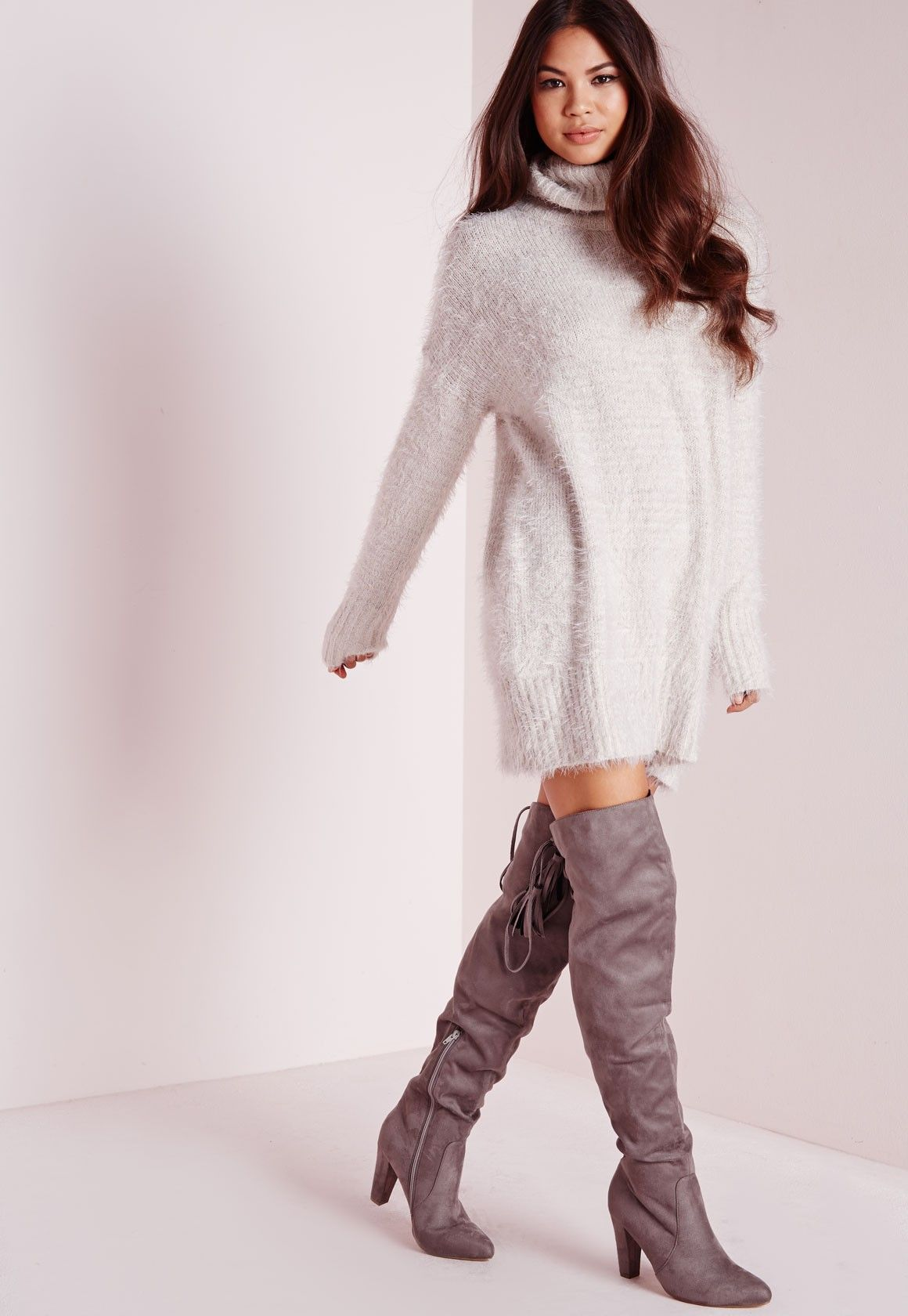3e8405e0665 Robe-pull en laine poilue grise col roulé - Tricots - Robes-pull -  Missguided
