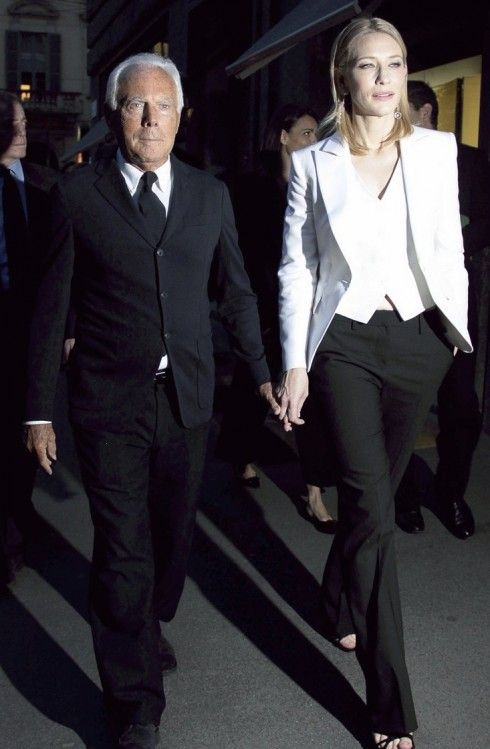 5b98eb9951c3a8 mr. armani and the always stunning cate blanchett in a three piece armani  suit. that s how it is done!