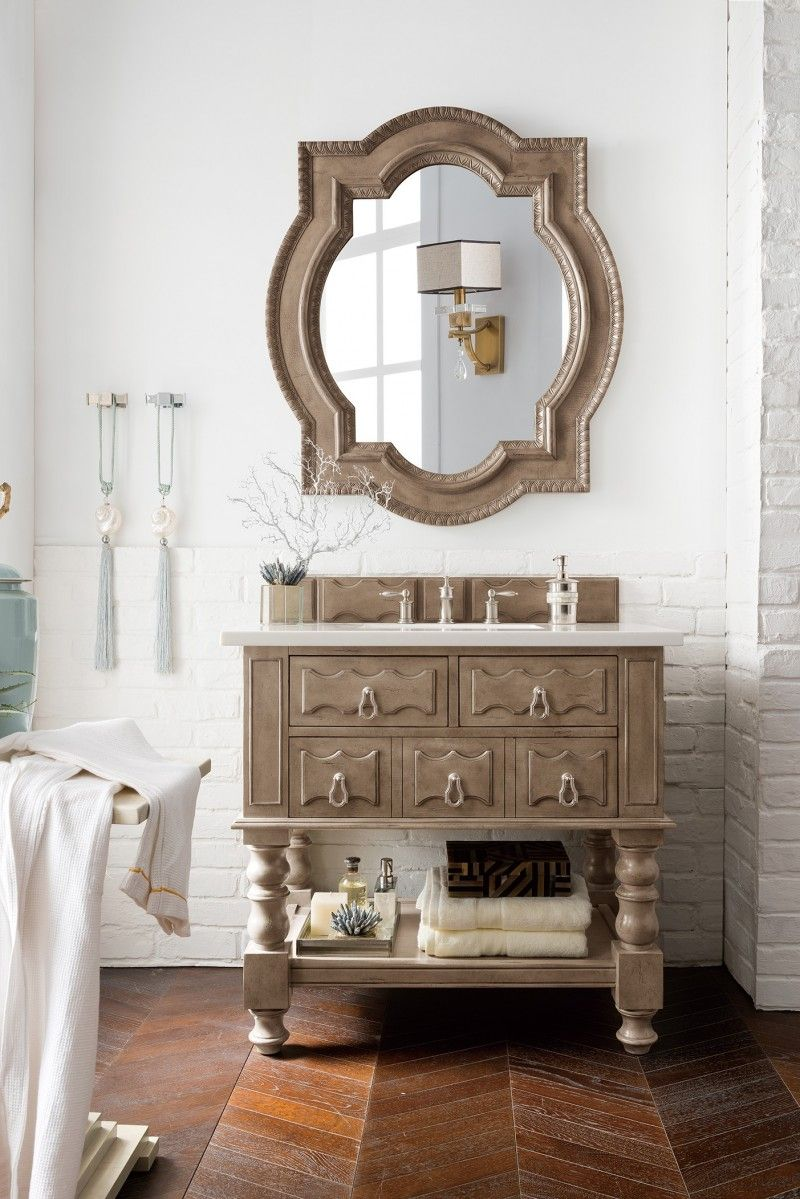 Castilian 36 Single Sink Bathroom Vanity Cabinet Empire Gray Finish Matching Mirror Old World Style James Martin Vanit Single Bathroom Vanity Single Sink Bathroom Vanity James Martin Furniture