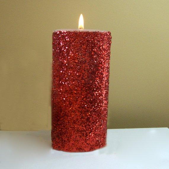 Red Glitter Unscented Pillar Candle 4 6 9 Inch Pillar Candles Decorative Pillars Candles
