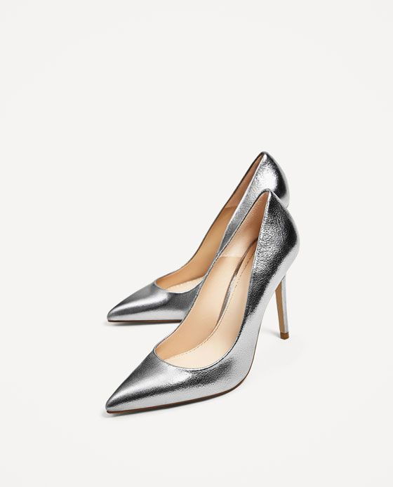 42d8f434b07 Image 2 of SILVER-TONED LEATHER HIGH HEEL SHOES from Zara