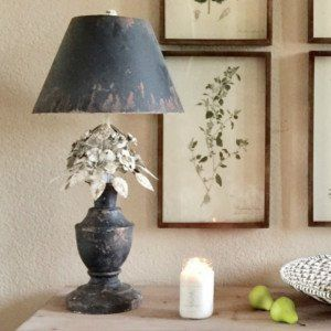 Distressed Metal Flower Table Lamp Finding Treasures Boxwood