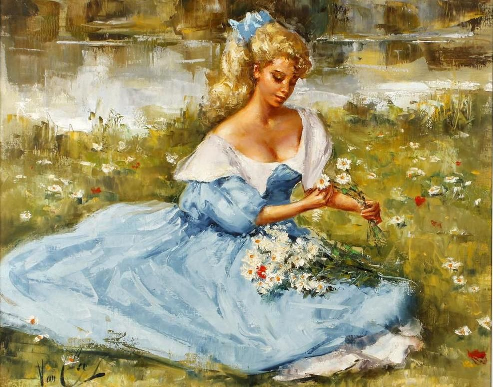 Robert van Cleef (French, b.1914)Girl in a blue dress with flowers