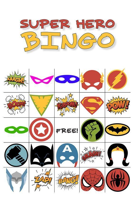 Free printable super hero bingo party yadclub Images
