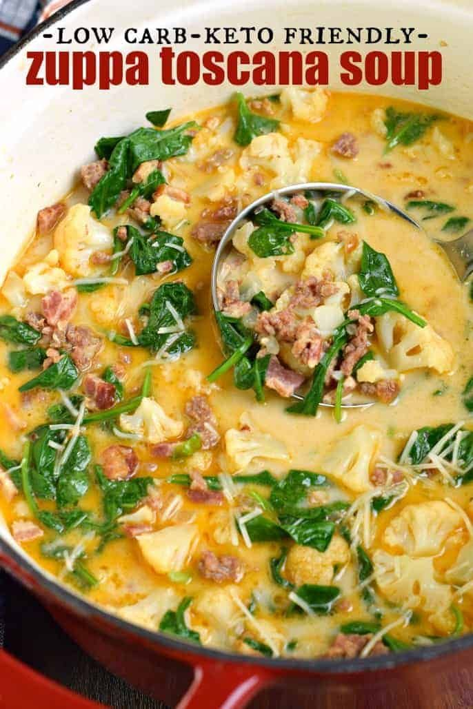 Easy Low Carb Keto Zuppa Toscana Soup Recipe #ketodiet #weightlosstransformation #ketorecipes #dietplan #loseweight #diet #weightloss #zuppatoscanasoup