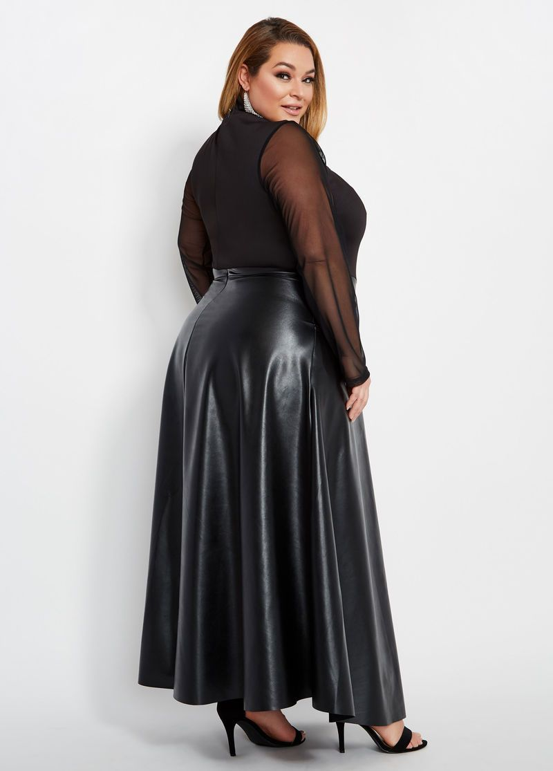 Plus Size Faux Leather Mesh Top Maxi Dress -  Faux Leather Mesh Top Maxi Dress  - #curbywomen #dress #Faux #getal #leather #lingrie #loving #Maxi #Mesh #people #presentideasforwomen #size #Top #womenbodybuilders