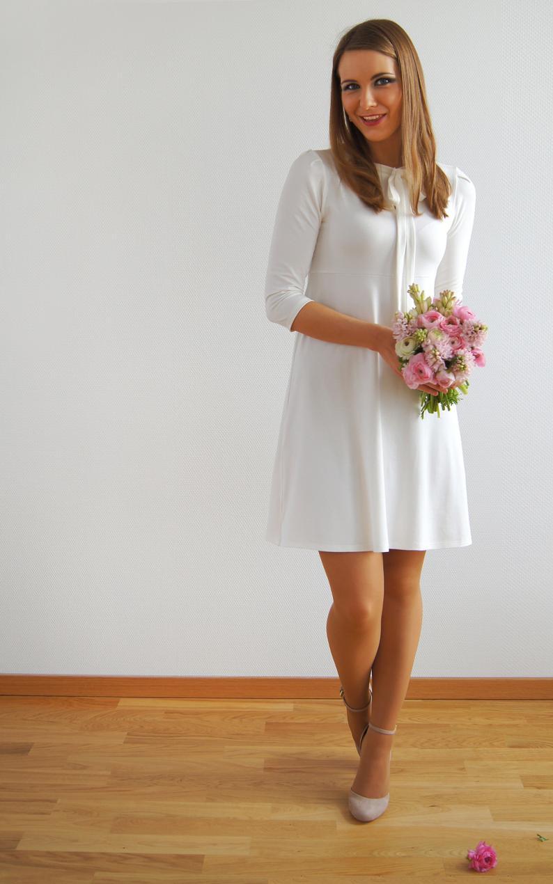 brautkleid kleid standesamt schleifenkleid ava creme | etsy