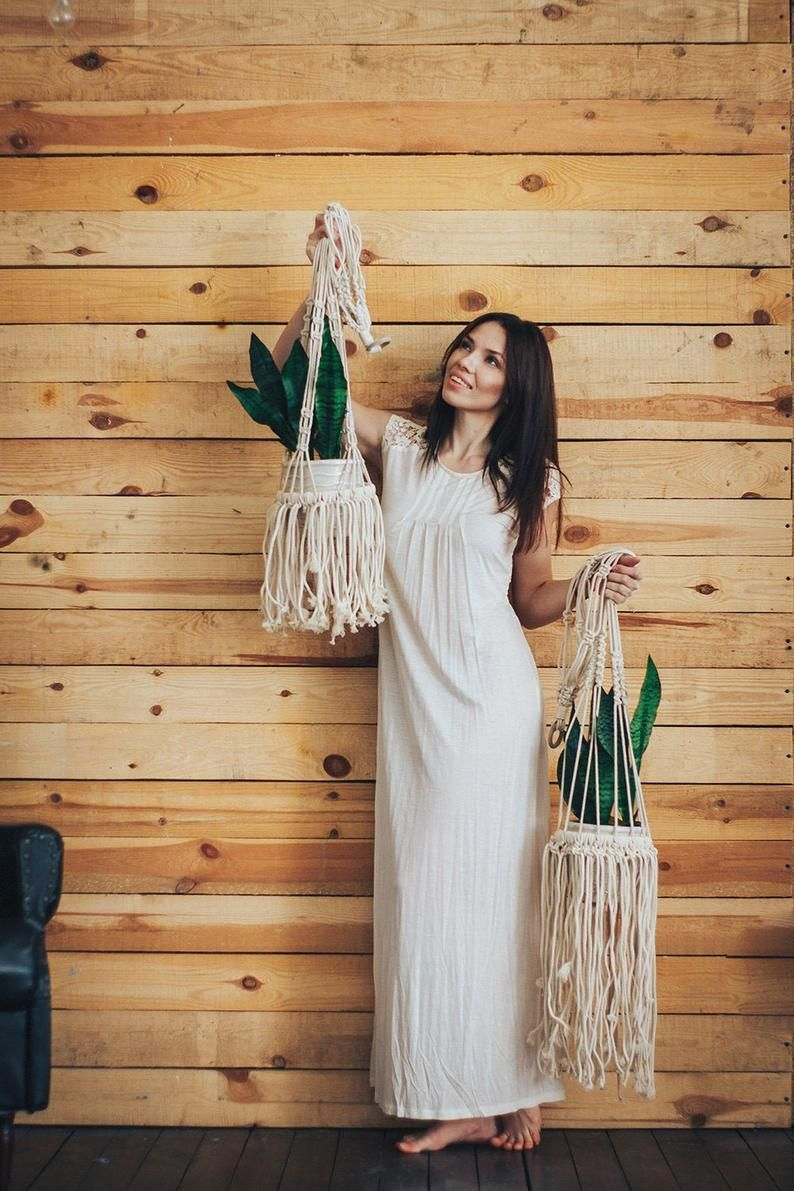 If you are looking for macrame plant holders, this item is a great choice. Treat yourself this beautiful macrame hanging planter if you are looking to bring a boho chic vibe to your home. Get this macrame plant hanger as a gift for Mothers day, birthday, or housewarming.  Our macrame hanging  #macrame #decor #decoridea #boho #bohodecor #wallhanging #macramedecor