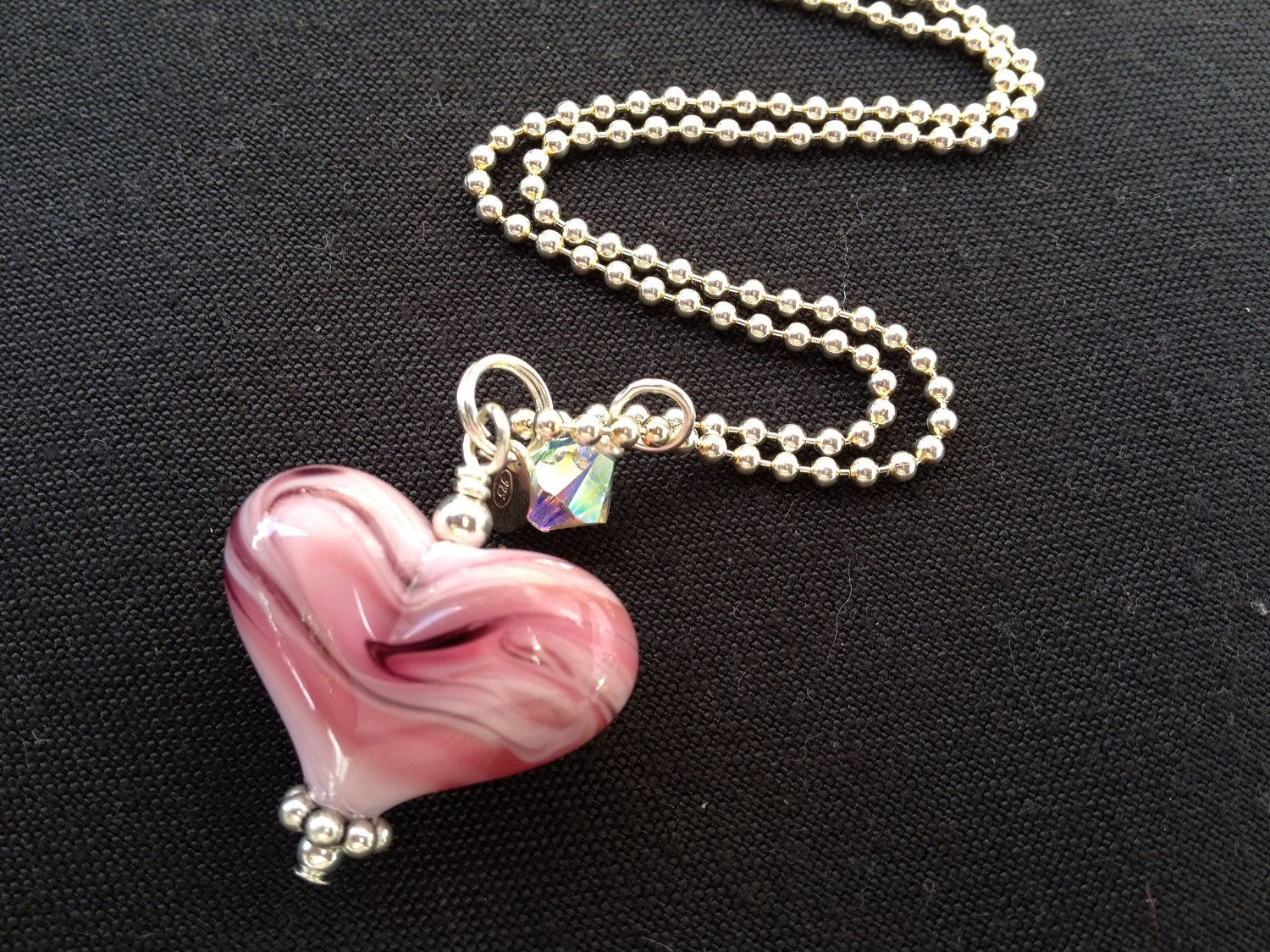 Lampwork glass heart bead on chain. $60.00, via Etsy.