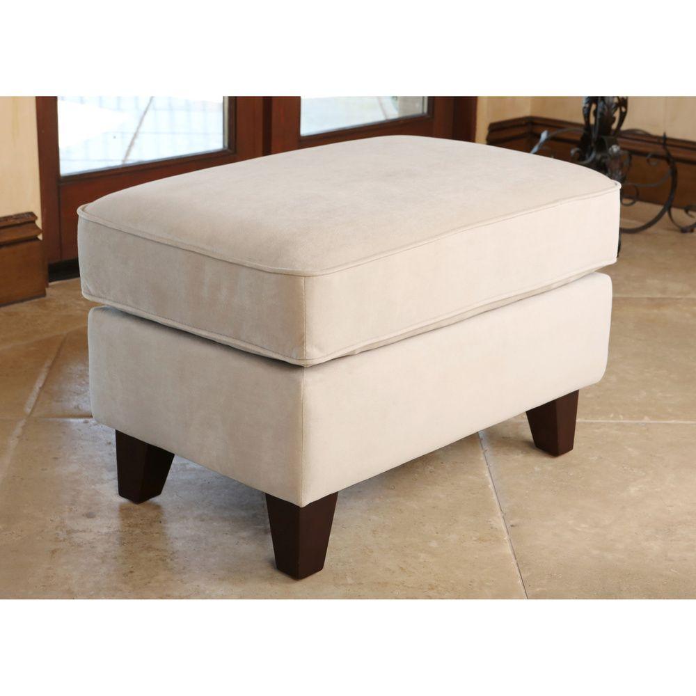Abbyson Living Claridge Beige Velvet Fabric Ottoman   Overstock™ Shopping    Great Deals On Abbyson Living Ottomans