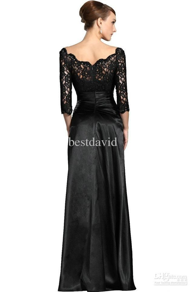 Cheap Black Lace Sleeves Mother Of The Bride Evening Dresses ...