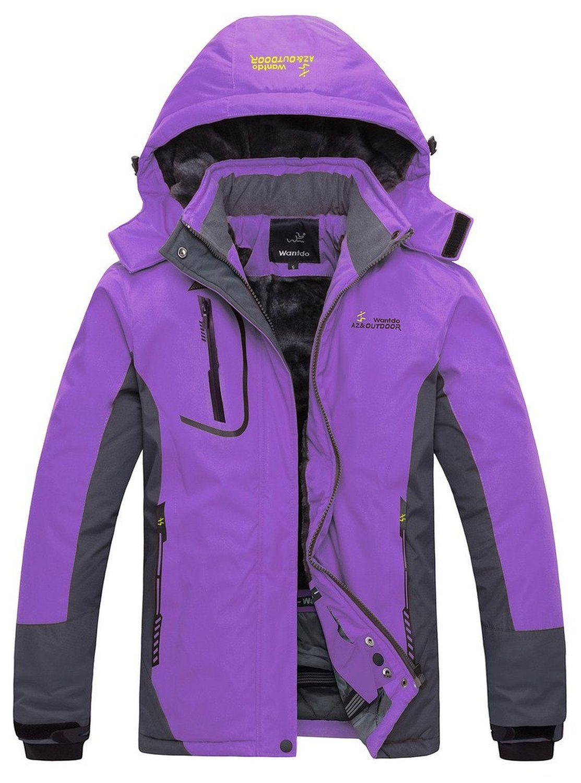 Wantdo Women's Waterproof Mountain Jacket Fleece Windproof